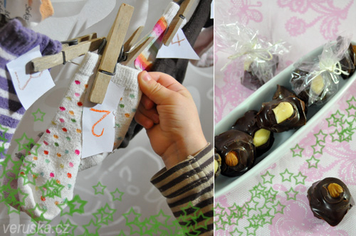 Adventní ponožky a čokoládové bonbóny