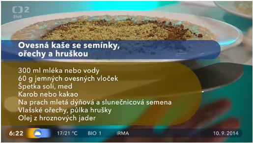 Dobré ráno 10.9.2014 - podzimní recepty - ovesná kaše recept