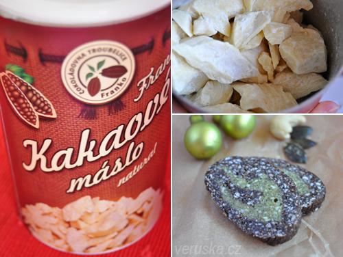 Kakaové máslo a raw roláda z kešu ořechů a dýňových semen