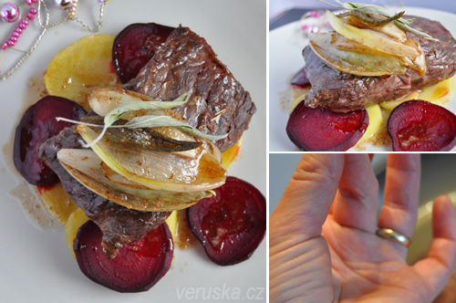 Hanger steak s glazovanou šalotkou a šalvějí