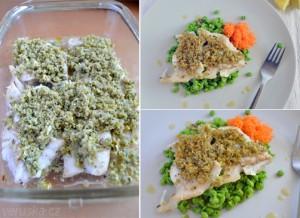 Treska pod voňavou krustou s hráškem a mrkvovým salátkem