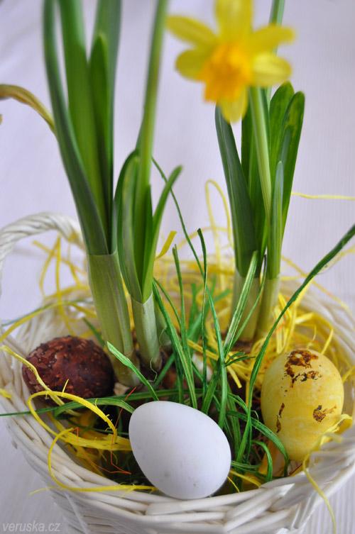 Velikonoční vejce křepelčí s narciskou