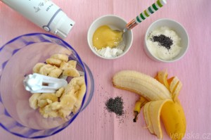 Zmrzlina za 5 minut - banánová z mákem, suroviny